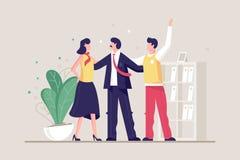 Płaska młoda życzliwa drużyna z mężczyzną i kobietą w biurze royalty ilustracja