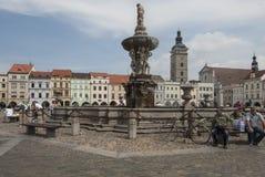 PÅ™emysla otakara II正方形在捷克布杰约维采捷克共和国欧洲 免版税图库摄影