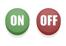 'På/av' knappar stock illustrationer