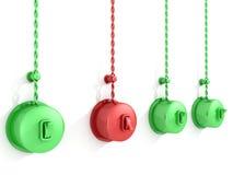 'På/av' röd och grön strömbrytare på white Arkivbild