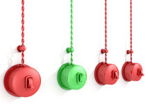 'På/av' röd och grön strömbrytare på white Royaltyfri Foto