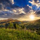 By på backeäng med skogen i berg på solnedgången Arkivbilder