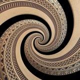 på bakgrund för modell för fractal för spiral för prydnad för svart bronskoppar geometrisk abstrakt Effekt för metallspiralmodell Arkivbilder