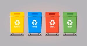 på burk avfall för avskrädet för behållare fyra det rullade gröna isolerade royaltyfri illustrationer