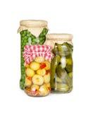 På burk grönsaker i glass krus royaltyfri fotografi