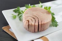 På burk tonfisk för närbild på plattan Arkivbilder