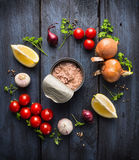 På burk tonfiskfisk och ingrediens för tomatsås med örten, kryddor och citronen Royaltyfria Bilder