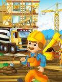 På de olika arbetarna för konstruktionsplats som gör deras jobb Arkivfoton