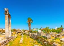 På den forntida marknadsplatsen av Kos Royaltyfri Bild
