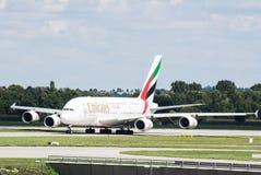 A380 på den Munich flygplatsen Arkivbild