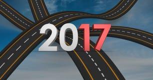 2017 på den sammansatta bilden 3D av over svepavägar Fotografering för Bildbyråer
