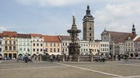 PÅ™emyslaotakara II vierkant in de Tsjechische republiek Europa van ceskebudejovice Stock Afbeelding
