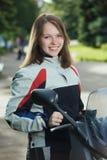 På en motorcykel Fotografering för Bildbyråer