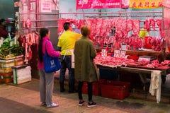 På en slakt i Kowloon Hong Kong Arkivbild