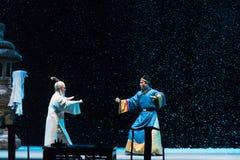 """På en snöig aftonkonfrontation-Shanxi Operatic""""Fu Shan till Beijing† Royaltyfria Foton"""