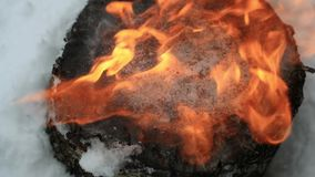 Is på en trästubbe smälter under en ström av brand i ultrarapid lager videofilmer