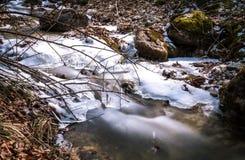 Is på floden royaltyfri foto
