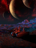 På främmande planeter Arkivfoton