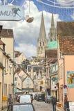 På gatorna av Chartres i jul. Royaltyfria Bilder