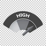 På hög nivå symbol för riskmåttvektor Hög bränsleillustration på iso Royaltyfri Foto