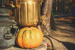 På helgdagsaftonen av allhelgonaaftonen är pumpor nära huset dekorerad w arkivbild