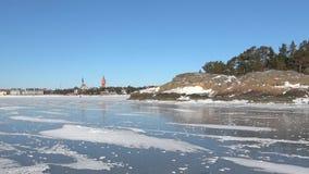 På isen av golfen av Finland Februari dag Hanko Finland lager videofilmer