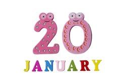 På 20 Januari på en vit bakgrund, nummer och bokstäver Arkivbild