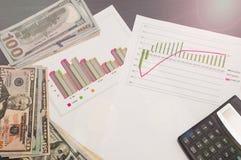 På kontorstabellen förläggas amerikanska dollar, diagram och diagram som trevlig rost, blåsor faller på arkivbilder