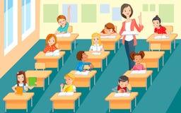 På kursen läraren och barnen royaltyfri illustrationer