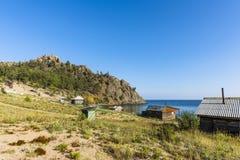 By på kusten av Lake Baikal Royaltyfri Fotografi