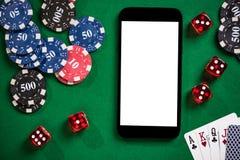På linjen kasino och pokerlekar förlöjliga upp royaltyfri fotografi