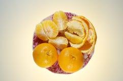 På maträtten lägga mandarinerna Arkivbild