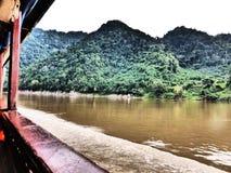 På Mekongen/Laos Arkivfoto