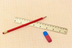 På millimeterpapperslögnen en linjal, en enkel blyertspenna och eror arkivbild