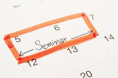 På min kalender ett område för ett seminarium Royaltyfria Bilder