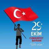 På Oktober 29th den vinkande Turkiet flaggan för turkisk republikdag stock illustrationer