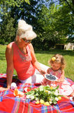 På picknicken Fotografering för Bildbyråer