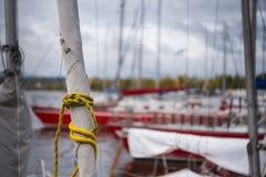 På riggningsår en segla av en staysail, på en förtöjd yacht på kusten Arkivfoto