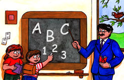 På skolan (2007) stock illustrationer