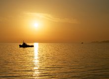 På solnedgången. Royaltyfri Bild