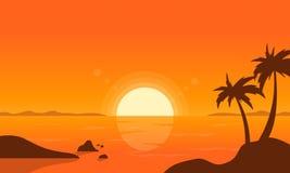 På solnedgången gömma i handflatan på strandvektor Royaltyfri Bild
