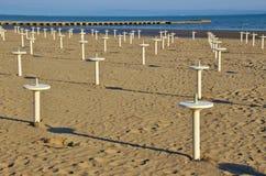 På stranden av Grado Italien, Europa Royaltyfri Bild