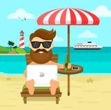 På strandfrilansarbetet & vila den plana illustrationen Affärsman In för arbetsplats för frilans för affärsman avlägsen vektor illustrationer