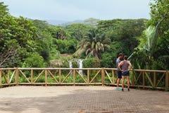 På synvinkel på den Chamarel vattenfallet mauritius Fotografering för Bildbyråer