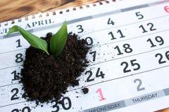 På tabellen är ett kalenderark med en liten hög av jord med en växtgrodd fotografering för bildbyråer