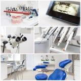 På tandläkarna - collage royaltyfria bilder