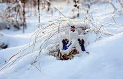 På trät på en kant där bor vintern i en izba (hus) 2 Fotografering för Bildbyråer