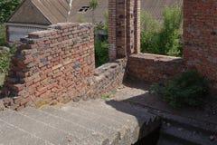 P? trappuppg?ngen av en oavslutad byggnad spirade ett tr?d i ett konkret golv royaltyfria foton