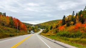 På vägen färgar hösten, Tadoussac Quebec Arkivbilder