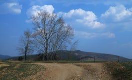 På vägen med moln Arkivbild